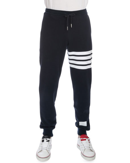 Thom Browne Drawstring Cotton Sweatpants with Leg-Stripe, Navy