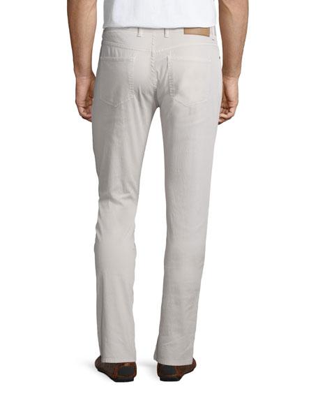 Peter Millar Five-Pocket Stretch-Cotton Pants, Ivory
