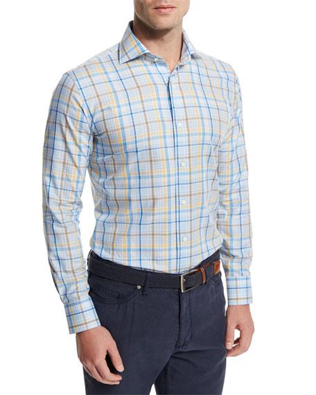 Peter Millar Cape Plaid Long-Sleeve Sport Shirt, Light