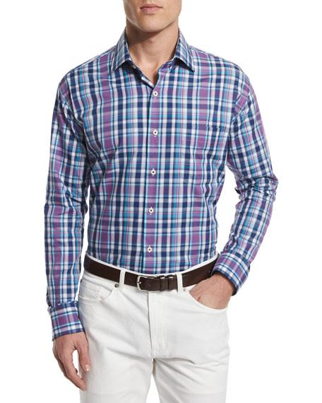 Peter Millar Wool-Blend V-Neck Sweater, Multi-Plaid Long-Sleeve