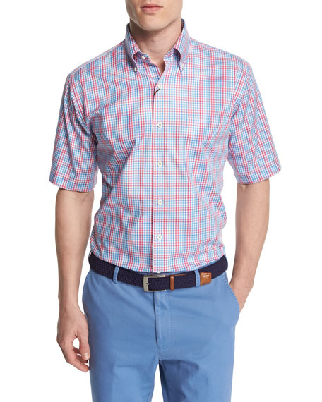 Peter Millar Check-Windowpane Short-Sleeve Woven Shirt, Pink/Blue