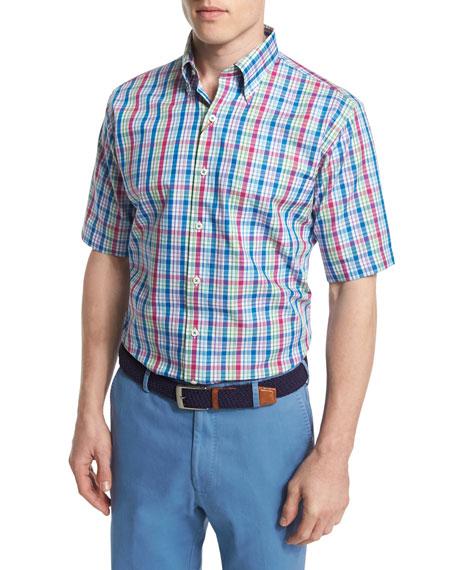 Peter Millar Plaid Short-Sleeve Woven Shirt & Raleigh