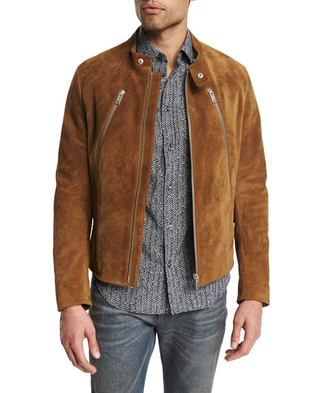 Maison Margiela Suede Full-Zip Jacket, Herringbone Printed