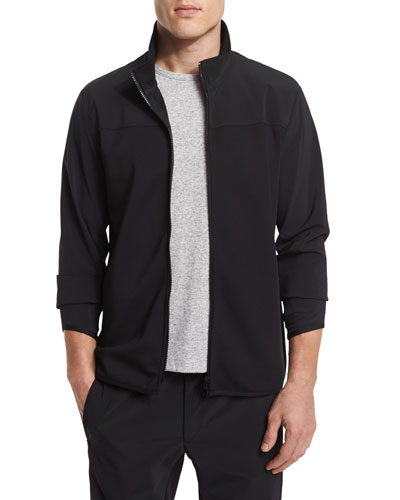 Zip-Front Long-Sleeve Track Jacket, Black