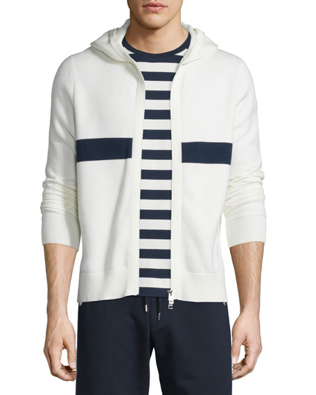 Moncler Striped Zip-Up Hoodie, White