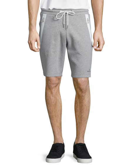 Moncler Zip-Pocket Knit Sweat Shorts, Gray