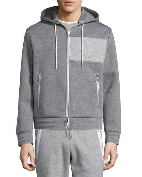 Moncler Neoprene Logo Zip-Up Hoodie, Gray