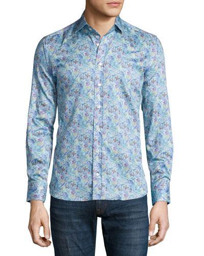 Small Paisley-Print Sport Shirt, Aqua Blue