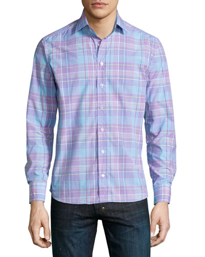 Check Long-Sleeve Sport Shirt, Multi