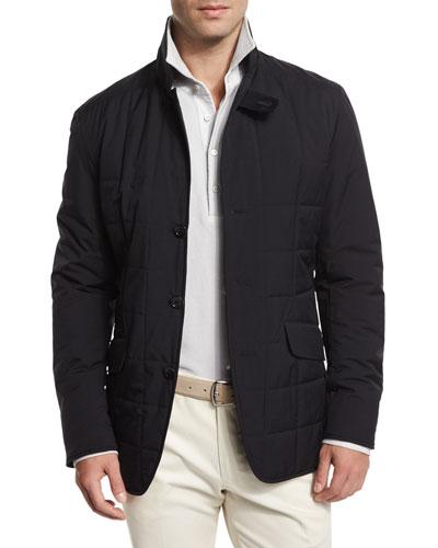 Burlington Quilted Nylon Jacket, Blue Navy