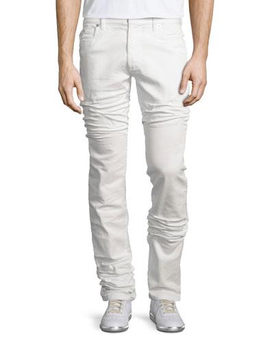 Five-Pocket Straight-Leg Stretch Jeans, White