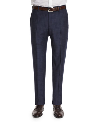 Parker Plaid-Windowpane Wool Trousers, Navy