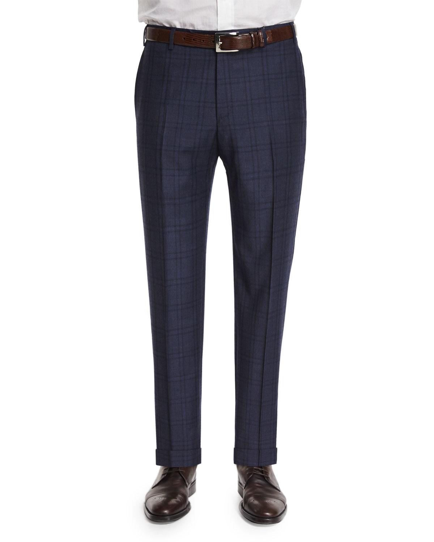100bc1ad71a0 Zanella Parker Flat-Front Windowpane Trousers