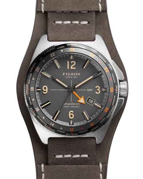 Filson 44mm Journeyman GMT Watch with Leather Strap,
