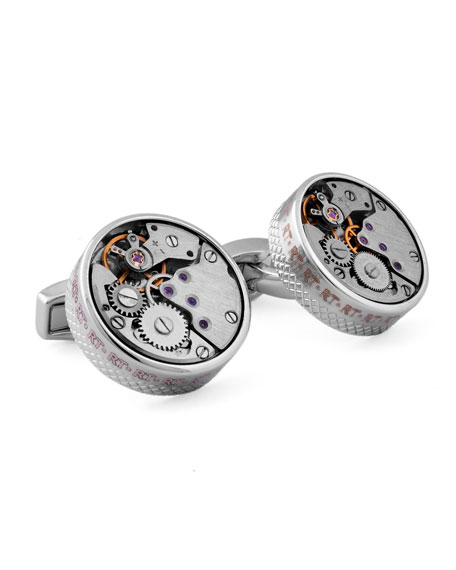 Rhodium Gear Cuff Links