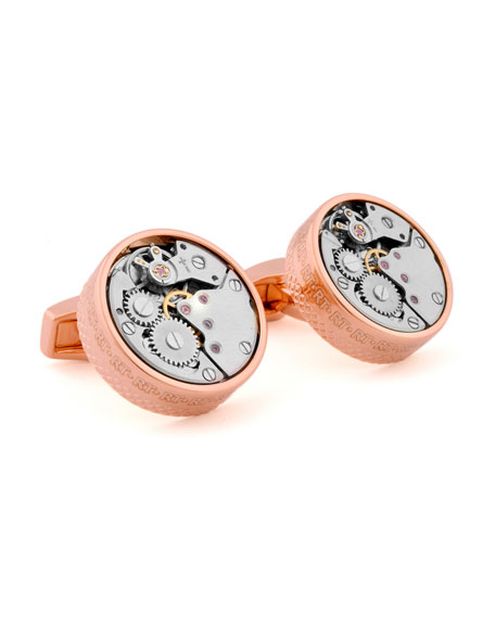 Pink-Gold Plated Gear Cuff Links