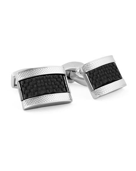Carbon Fiber Rectangular Cuff Links, Black
