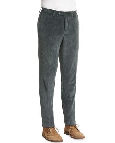 Wide-Whale Corduroy Pants, Moss Green