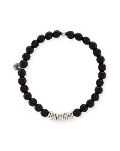 Men's Black Agate Bead Bracelet