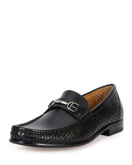 Bally Lorain Perforated-Side Leather Buckle Loafer, Black