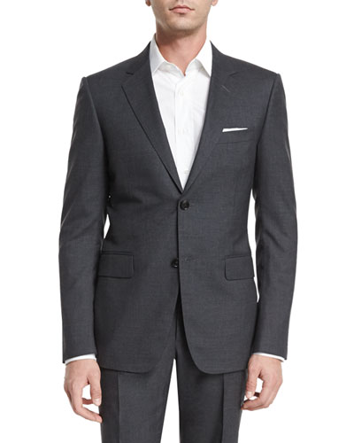 Brera Two-Piece Wool Suit, Charcoal