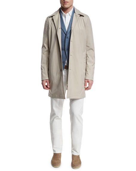 Loro Piana Delaware Button-Down Trench Coat, Pumice/Desert Dust
