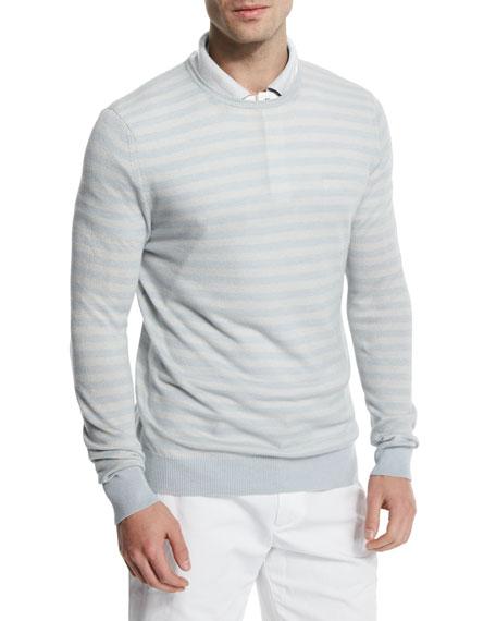 Loro Piana Tonal-Stripe Cashmere-Blend Crewneck Sweater, Starlight Blue