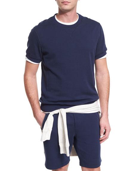 Brunello Cucinelli Short-Sleeve Crewneck Sweater, Ocean/Ardesia