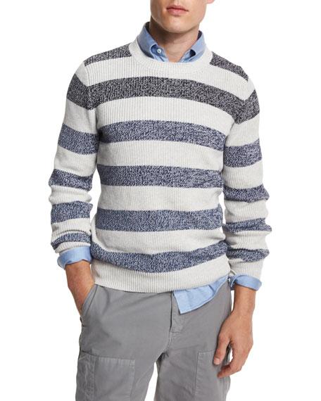 Brunello Cucinelli Fading-Stripe Crewneck Sweater, Fog/Blue