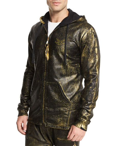 Robinu0026#39;s Jeans Gold-Coated Zip-Up Hoodie Gold