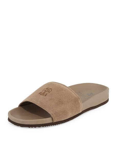 Perforated Suede Slide Sandal, Beige