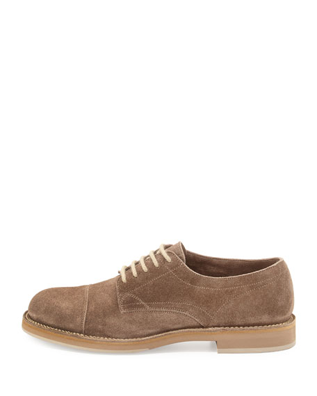 Cap-Toe Suede Lace-Up Shoe, Mushroom