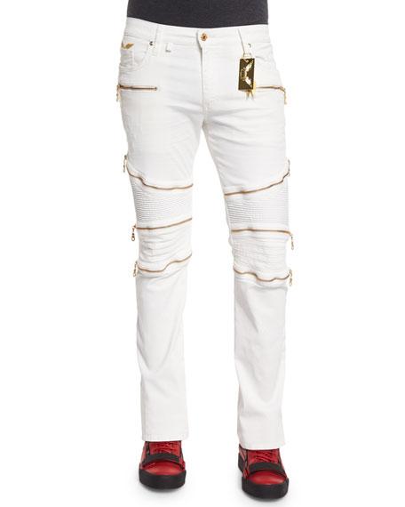 Robin's Jeans Racer Knee-Panel Moto Jeans, White