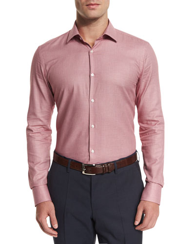 Slim Fit Textured Melange Sport Shirt, Red