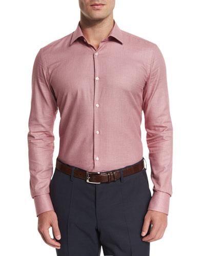 Slim Fit Textured Melange Sport Shirt, Red