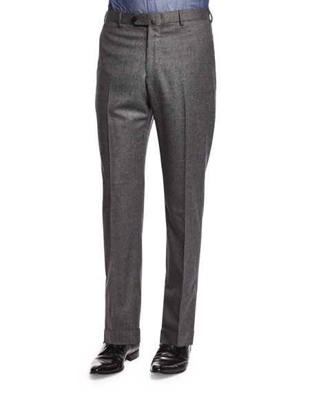 Isaia Houndstooth Flat-Front Trousers, Gray
