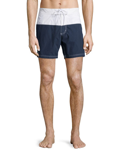 Colorblock Swim Shorts, Navy Blue/White
