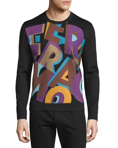 Large Logo-Graphic Knit Sweatshirt, Black