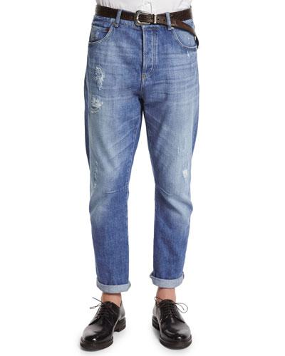 Five-Pocket Distressed Denim Jeans, Light Wash