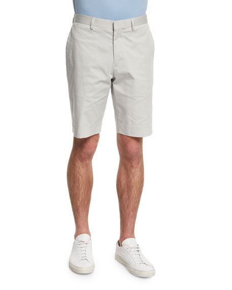 Theory Beck Flat-Front Stretch-Twill Shorts, Whitestone