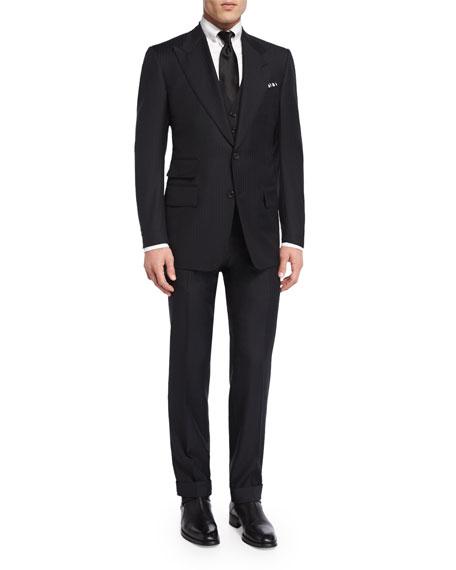 Windsor Base Herringbone Three-Piece Suit, Black