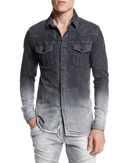 Pierre Balmain Ombre Denim Button-Down Shirt, Dark Gray