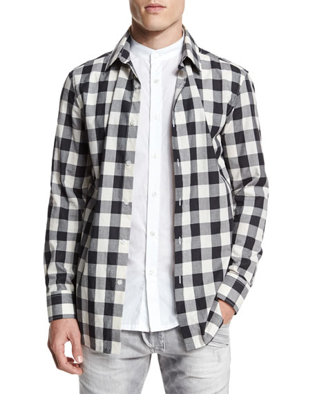 Double-Layer Check Long-Sleeve Shirt, Black/White