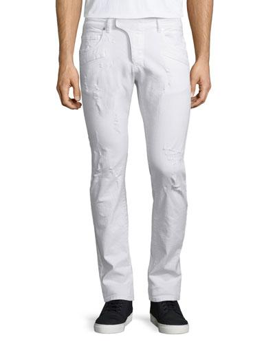 Distressed Moto Denim Jeans, White