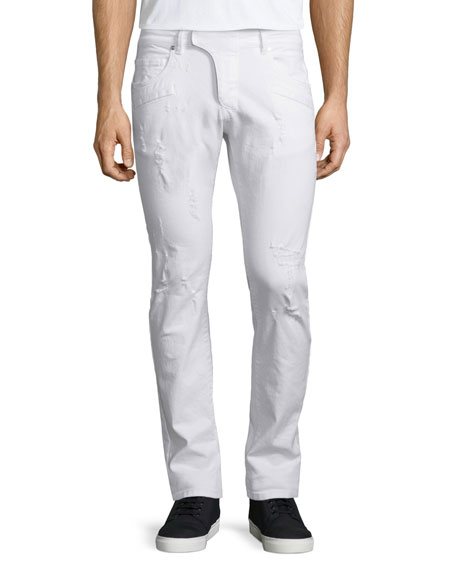 Pierre BalmainDistressed Moto Denim Jeans, White
