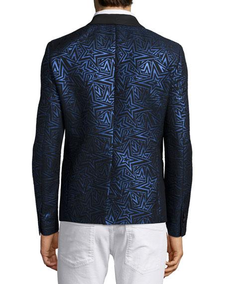 Star-Print Jacquard One-Button Evening Jacket, Black/Blue