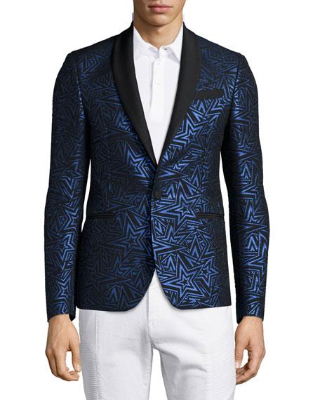 Pierre Balmain Star-Print Jacquard One-Button Evening Jacket,