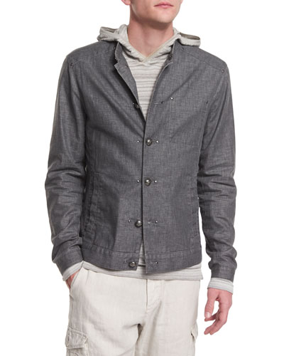 Button-Down Linen-Blend Jacket, Gray