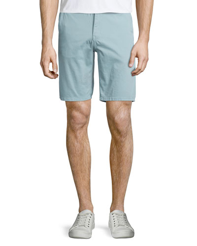 Flat-Front Trouser Shorts, Turquoise
