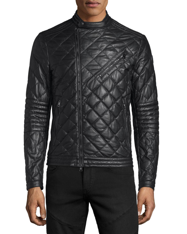 0033d6345175 Moncler Debise Quilted Leather Moto Jacket